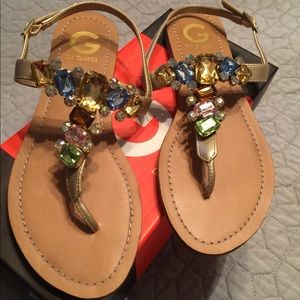 Sz 8. 1/2 g by guess sandals with multi color jewe